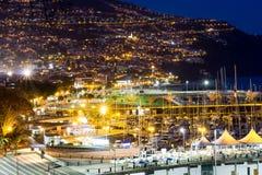 Funchal stad på natten Arkivbild