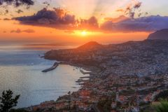 Funchal at sunset in Madeira royalty free stock photo