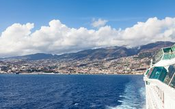 Funchal Waterfront. A cruise ship departs Funchal on the Portuguese island of Madeira Stock Photos
