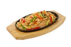 Funchaz с цыпленком, изолированной сковородой свинины Стоковое Изображение