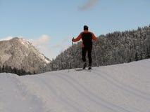Funcionamento de esqui através dos campos imagens de stock