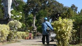 Funcionamento do jardineiro e grama de jardinagem do corte de máquina do uso no parque do jardim video estoque