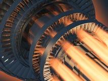 Funcionamento do motor de turbina do gás Fotos de Stock