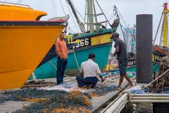 Funcionamento do pescador fotos de stock