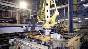 Funcionamento do robô, bens da embalagem em uma fábrica industrial vídeos de arquivo