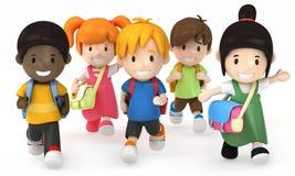Funcionamento dos miúdos da escola ilustração stock