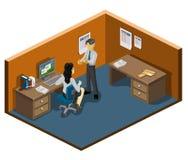Funcionamento e parceria isométricos ilustração stock