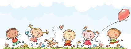 Funcionamento feliz dos miúdos ilustração do vetor
