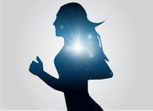 Funcionamiento abstracto de la mujer con el rayo negro y azul del relámpago Imagenes de archivo