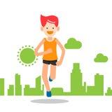 Funcionamiento activo del hombre joven y entrenamiento feliz para el deporte del maratón libre illustration