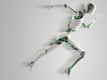 Funcionamiento androide de la mujer del robot Foto de archivo libre de regalías