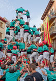 Funcionamiento de Castells en Torredembarra, Cataluña, España Imagen de archivo libre de regalías