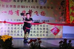 Funcionamiento de China Kung Fu Long Knives Imagen de archivo