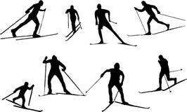 Funcionamiento de esquí de la silueta Fotos de archivo