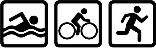 Funcionamiento de la bici de la nadada del triple del Triathlon ilustración del vector