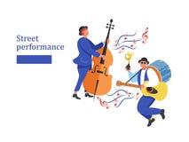 Funcionamiento de la calle Músico de la calle Ilustración del vector stock de ilustración