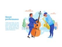 Funcionamiento de la calle Músico de la calle Ilustración del vector libre illustration