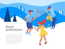 Funcionamiento de la calle Músico de la calle Ilustración del vector ilustración del vector