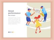 Funcionamiento de la calle Un jugador de saxofón del músico de la calle Vector i ilustración del vector