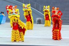 Funcionamiento de la danza del león en NDP 2009 Imagenes de archivo