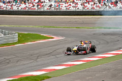 Funcionamiento de la demostración del coche de carreras del Fórmula 1 Foto de archivo libre de regalías