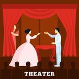 Funcionamiento de la etapa del teatro con el cartel de la audiencia Fotos de archivo libres de regalías