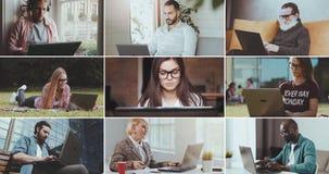 Funcionamiento de la gente de Multiscreen en el ordenador portátil almacen de video