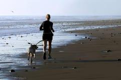 Funcionamiento de la mujer joven y del perro Fotografía de archivo libre de regalías
