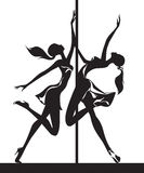 Funcionamiento de los bailarines de poste Fotografía de archivo