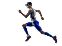 Funcionamiento de los corredores del atleta del hombre del hierro del triathlon del hombre Foto de archivo libre de regalías