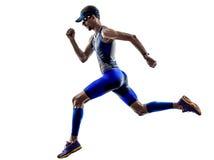 Funcionamiento de los corredores del atleta del hombre del hierro del triathlon del hombre Imágenes de archivo libres de regalías