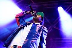 Funcionamiento de Sweatshirt del conde (golpeador y miembro americanos del hip-hop Odd Future colectivo) en el sonido 2014 de Hei Imagen de archivo libre de regalías