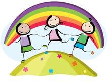 Funcionamiento de tres niños Foto de archivo libre de regalías