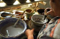 Funcionamiento del artesano de la cerámica Fotografía de archivo libre de regalías