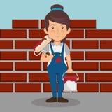 Funcionamiento del carácter del constructor de la mujer stock de ilustración