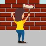Funcionamiento del carácter del constructor de la mujer libre illustration