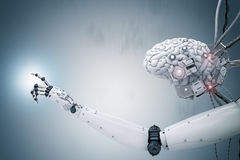 Funcionamiento del cerebro del Cyborg imágenes de archivo libres de regalías
