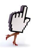 Funcionamiento del cursor de la mano del comercio electrónico Imagen de archivo