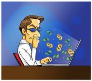 Funcionamiento del hombre del cuaderno del dinero Fotografía de archivo libre de regalías