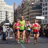 Funcionamiento del maratón de Valencia, España Fotografía de archivo