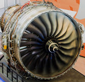 Funcionamiento del motor de avión del Jumbo Imagen de archivo libre de regalías