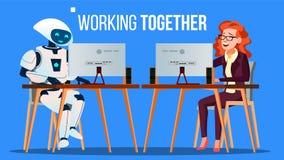 Funcionamiento del robot en la oficina en el escritorio del ordenador así como vector de la gente Ilustración aislada ilustración del vector