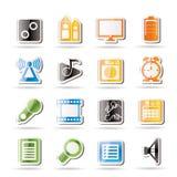 Funcionamiento del teléfono móvil, iconos del Internet Imagen de archivo