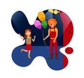 Funcionamiento en el circo para el ejemplo plano de los niños stock de ilustración