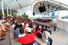 Funcionamiento en el teatro al aire libre Singapur de la explanada Foto de archivo