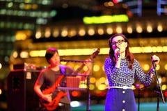 Funcionamiento en el teatro al aire libre Singapur de la explanada Foto de archivo libre de regalías