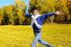 Funcionamiento feliz del adolescente Imagen de archivo libre de regalías