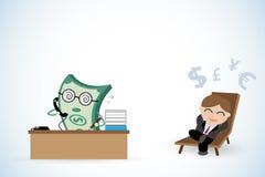 Funcionamiento feliz del hombre de negocios y del dinero, renta pasiva y concepto del negocio Imagenes de archivo