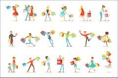 Funcionamiento feliz y emocionado de la gente de Shopaholic con la colección sonriente de los caracteres del cartón de los panier ilustración del vector