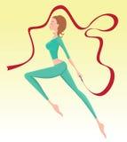 Funcionamiento femenino del gimnasta Foto de archivo libre de regalías